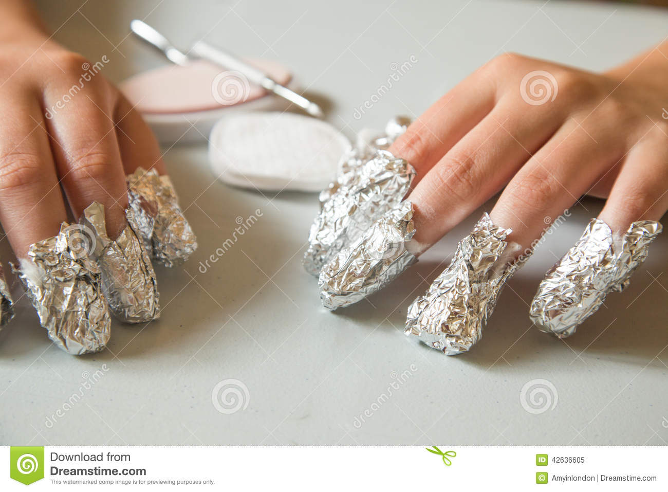 Removing Shellac Nails Stock Image Of Foil Hands