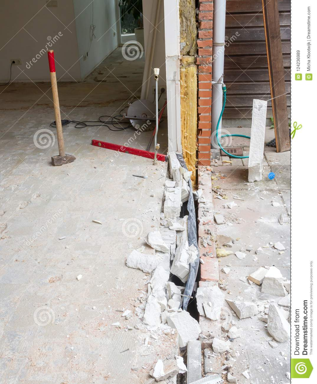 Removing A Wall And Placing A Glass Sliding Door Stock Image Image