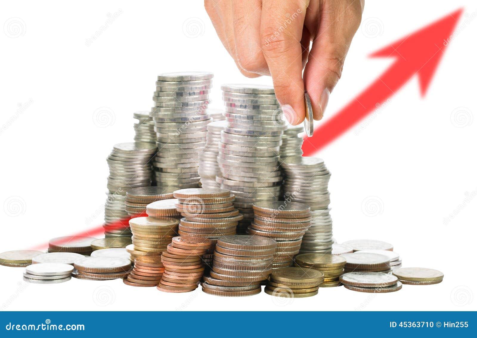 Remplir vers le haut des pièces de monnaie au verre pour l investissement
