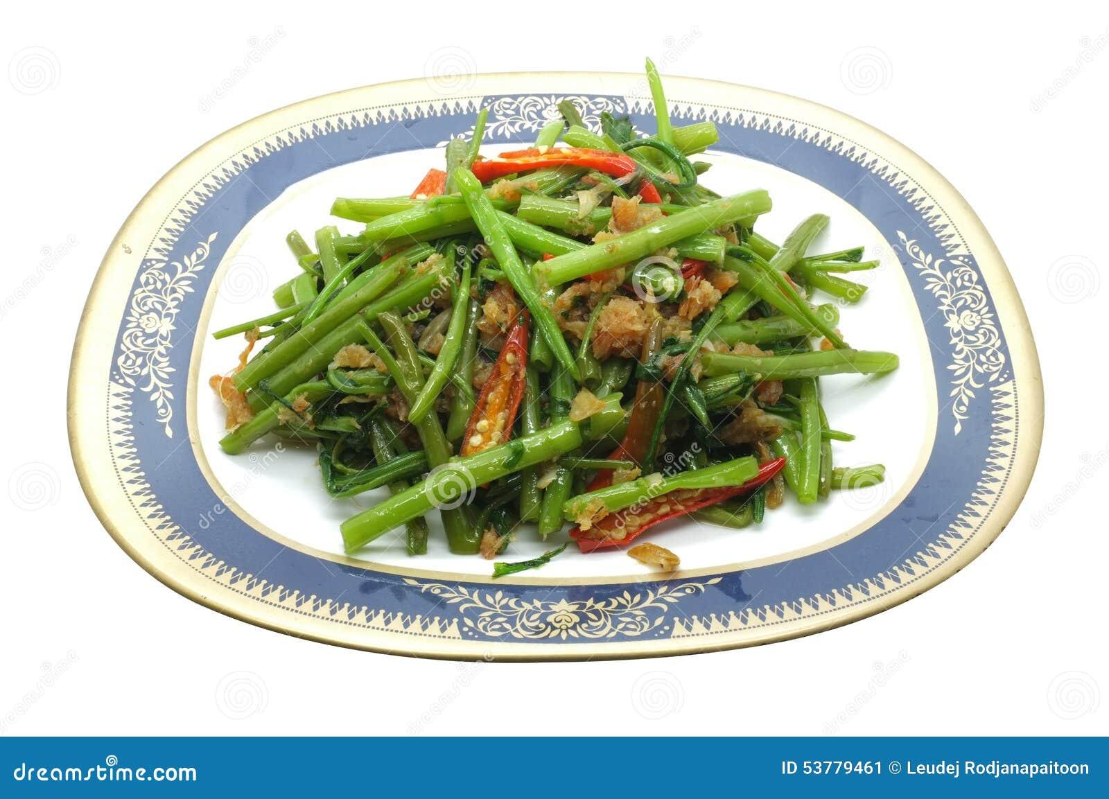 Remuez Fried Water Spinach, gloire de matin avec la crevette sèche, fruits de mer, nourriture thaïlandaise