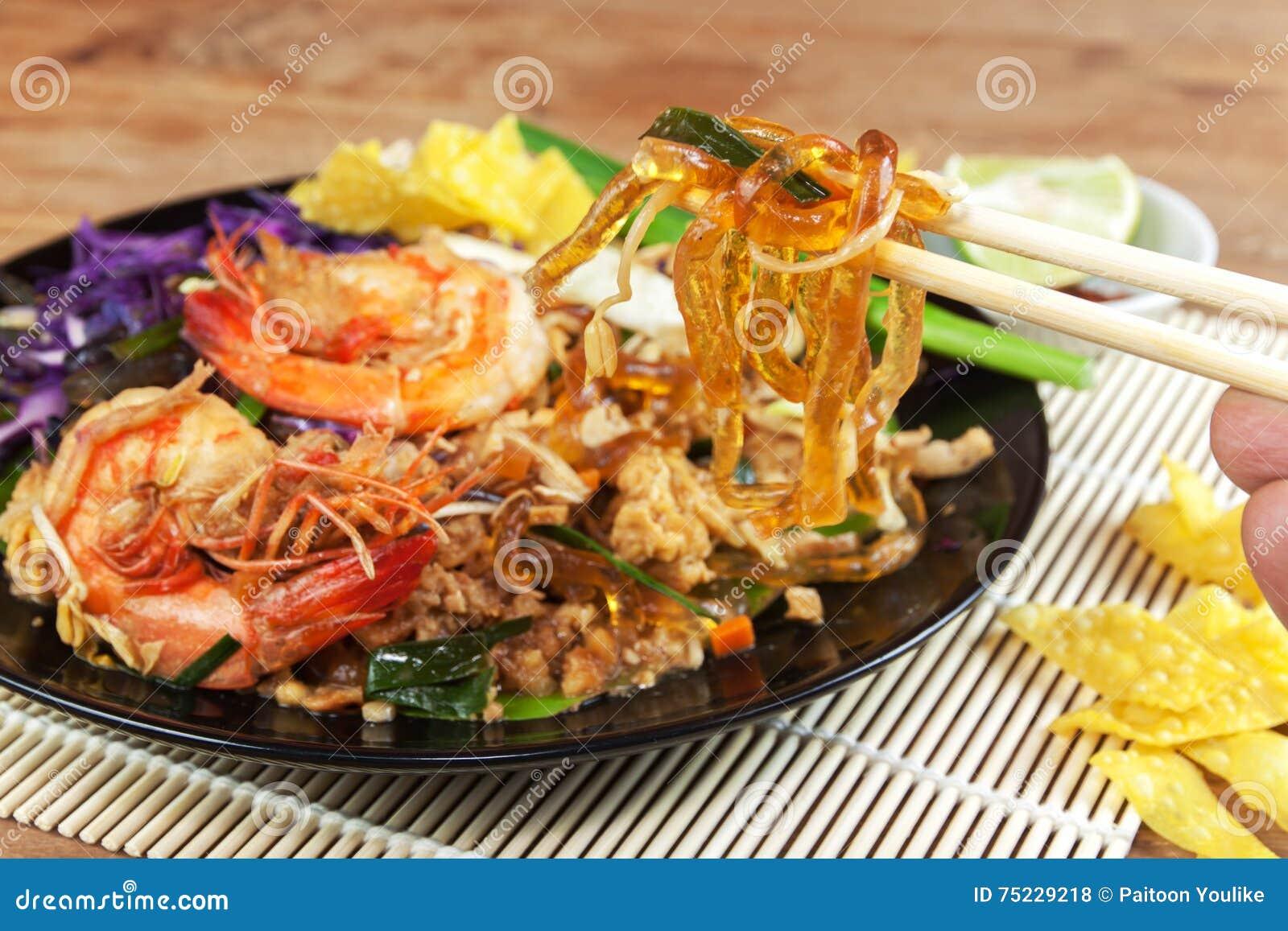 Remuez la ligne en verre frite d algue avec la crevette (la protection thaïlandaise)