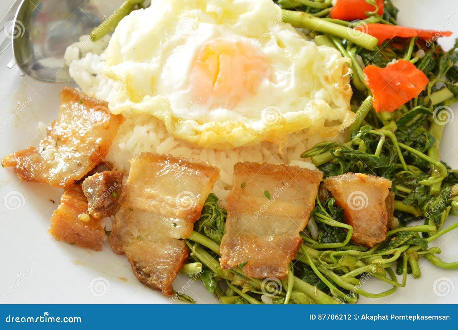 Remuez la mimosa frite de l eau avec l oeuf croustillant d écrimage de porc sur le riz
