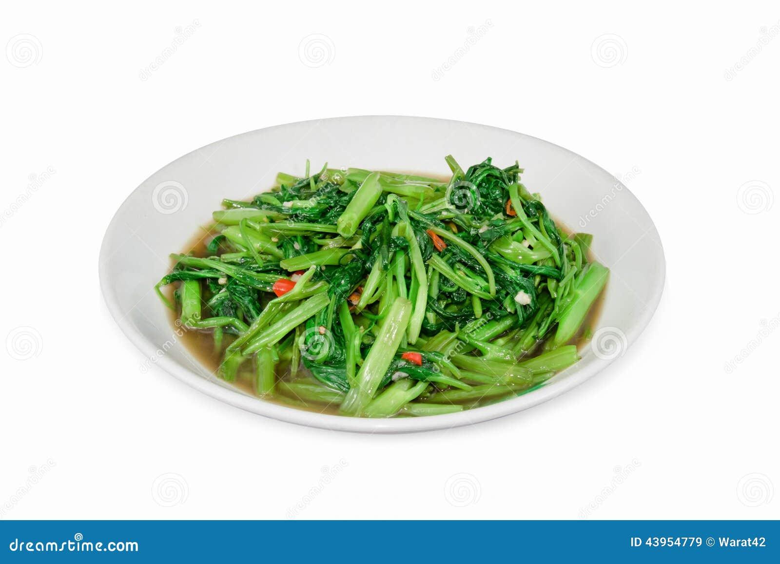 Remuez le daeng de fai de boong de Fried Water Spinach ou de PAK d isolement sur le petit morceau