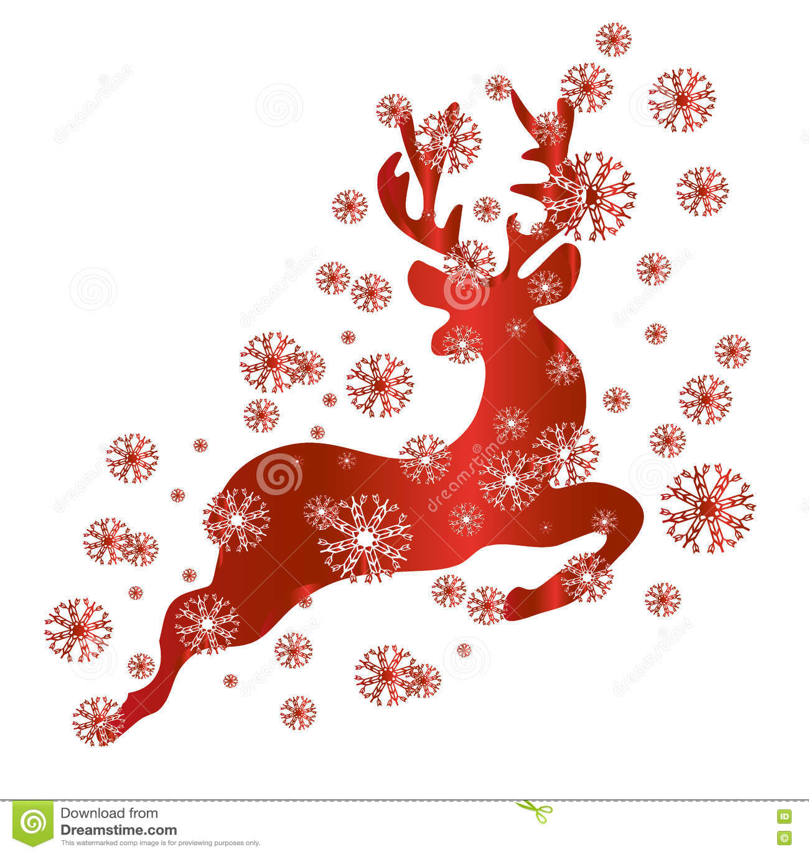 Ren i rött och snö, vektor