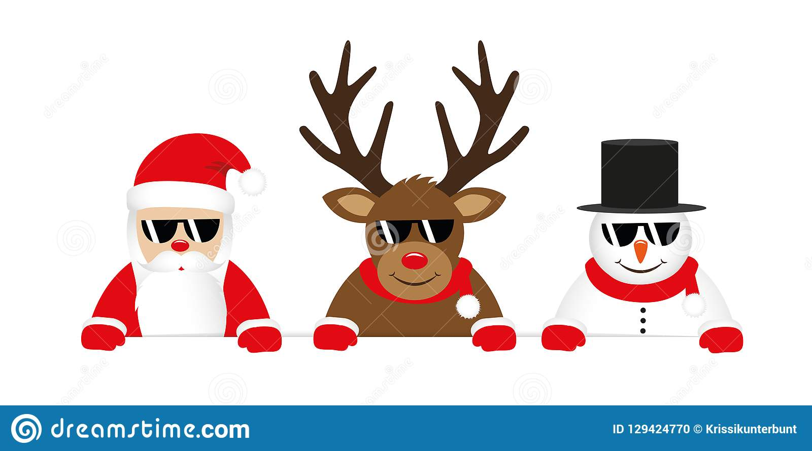 Rena Bonito Papai Noel E Desenhos Animados Do Boneco De Neve Com