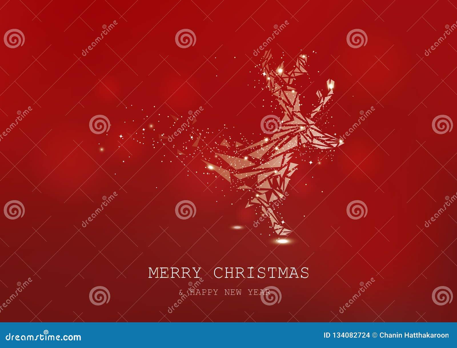 A rena dourada, baixo polígono, confete, partículas de incandescência dispersa, cartaz, vetor sazonal do feriado do fundo luxuoso