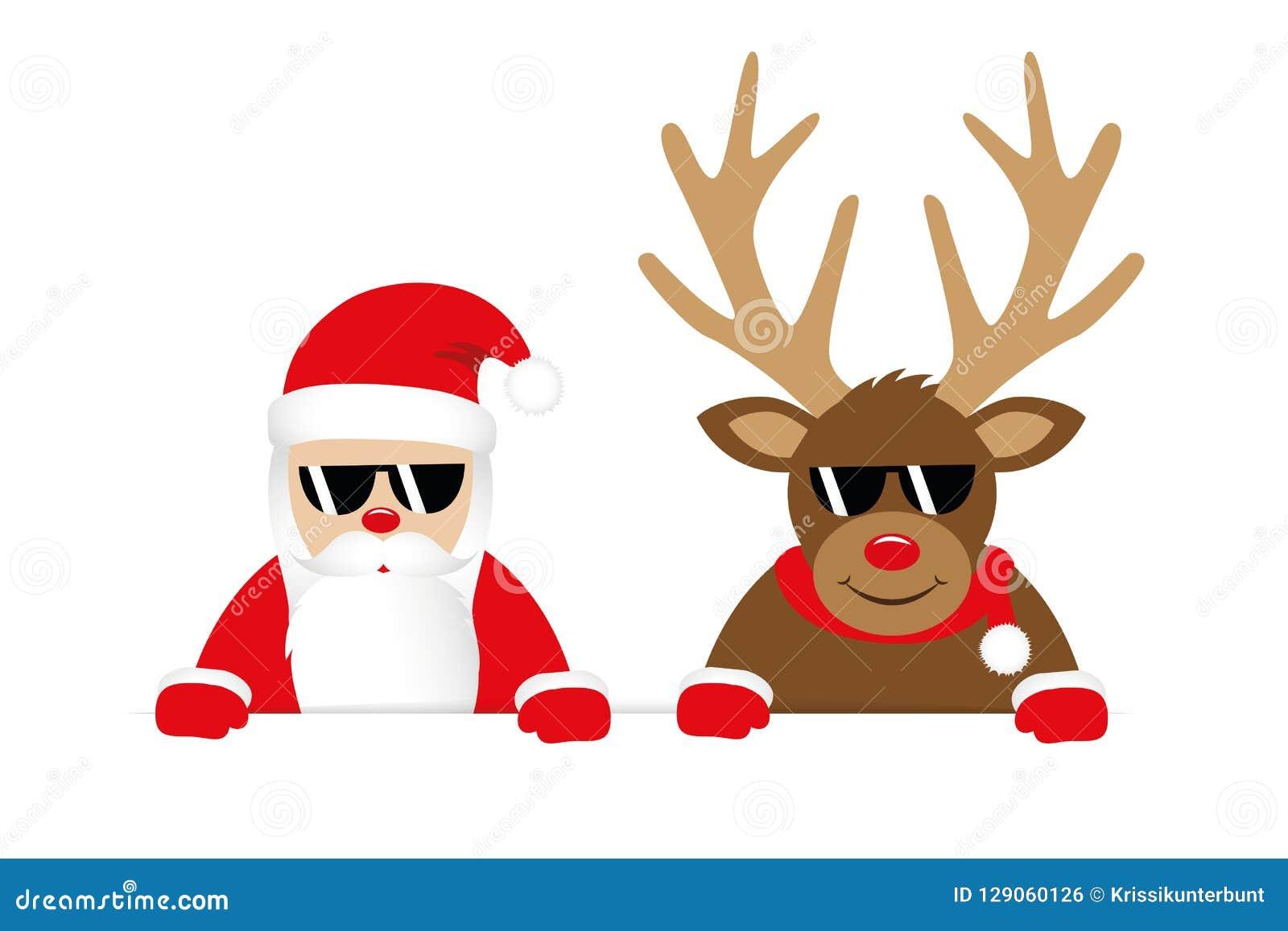 Rena E Papai Noel Com Desenhos Animados Do Natal Dos Oculos De Sol