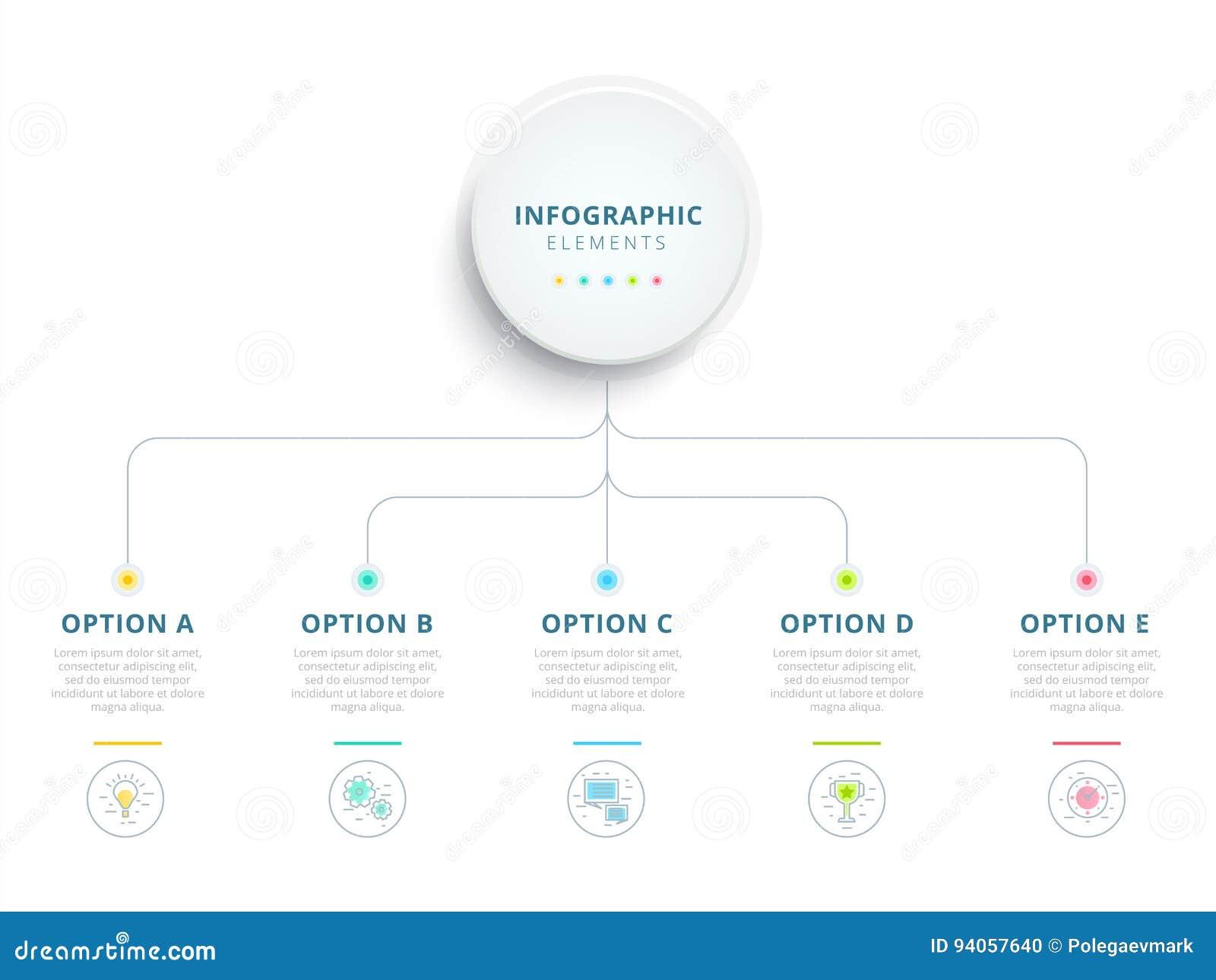 Rena minimalistic för momentprocess för affär 5 wi för infographics för diagram