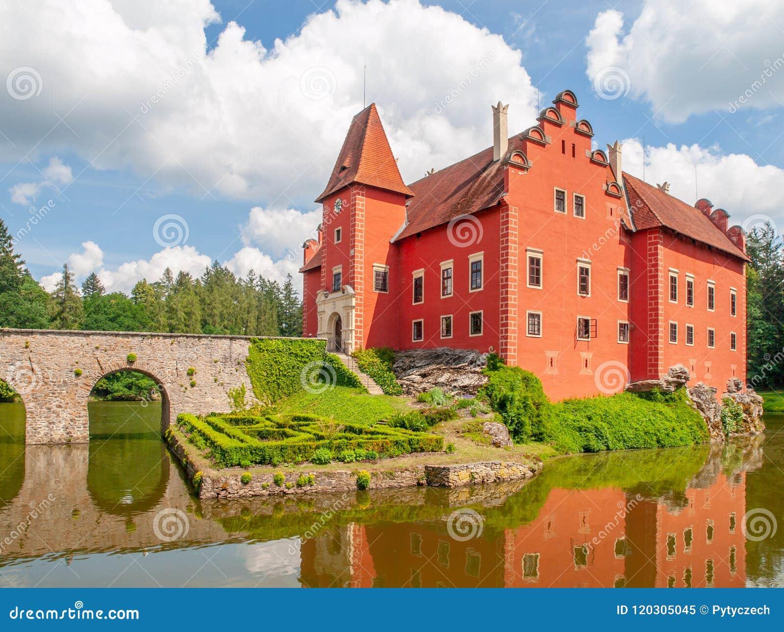 Renaissance chateau Cervena Lhota in Southern Bohemia, Czech Republic. Idyllic and picturesque fairy tale castle on the