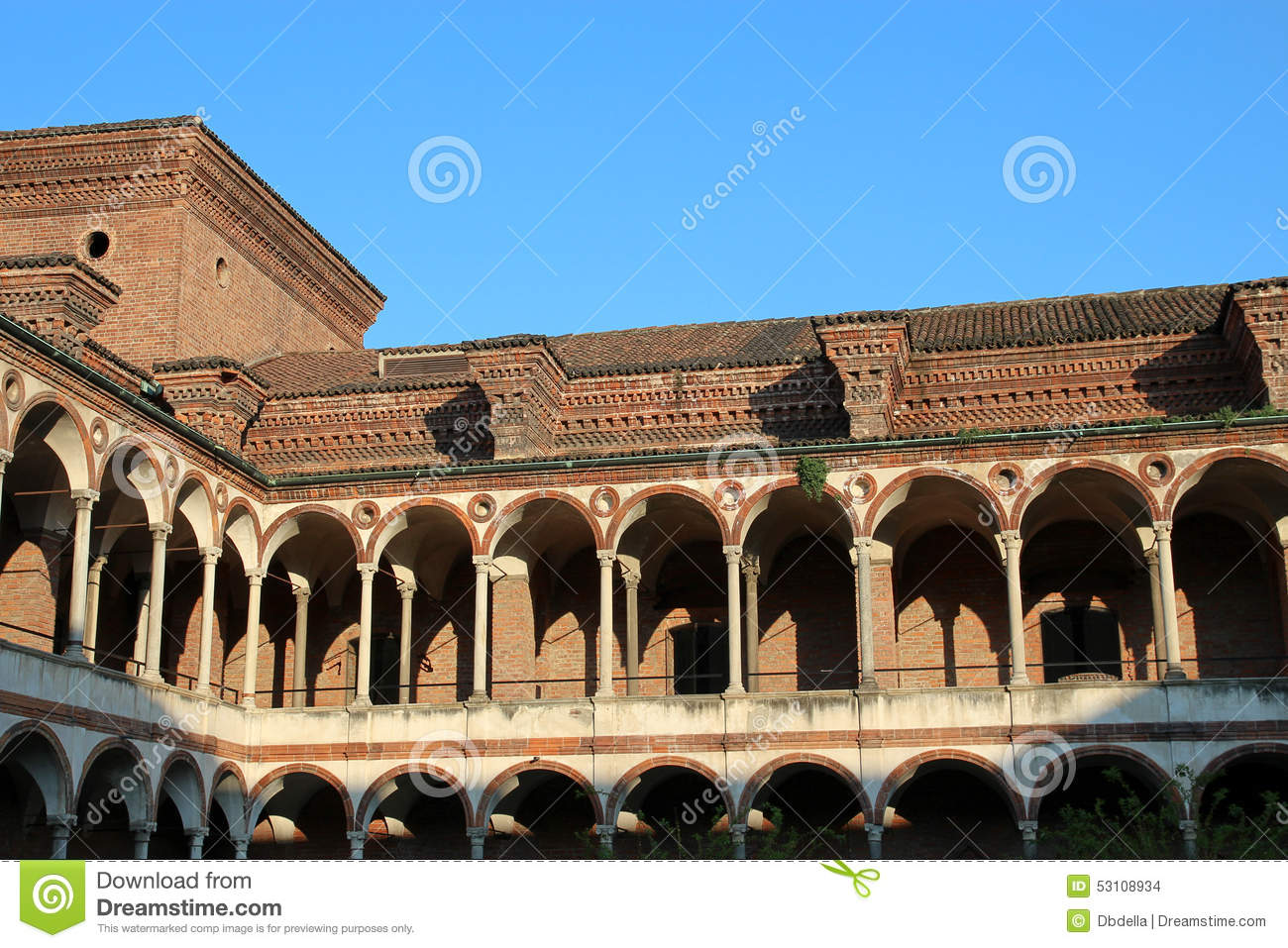 Renaissance colonnade of Milan University, Cloister of Baths - Lombardy