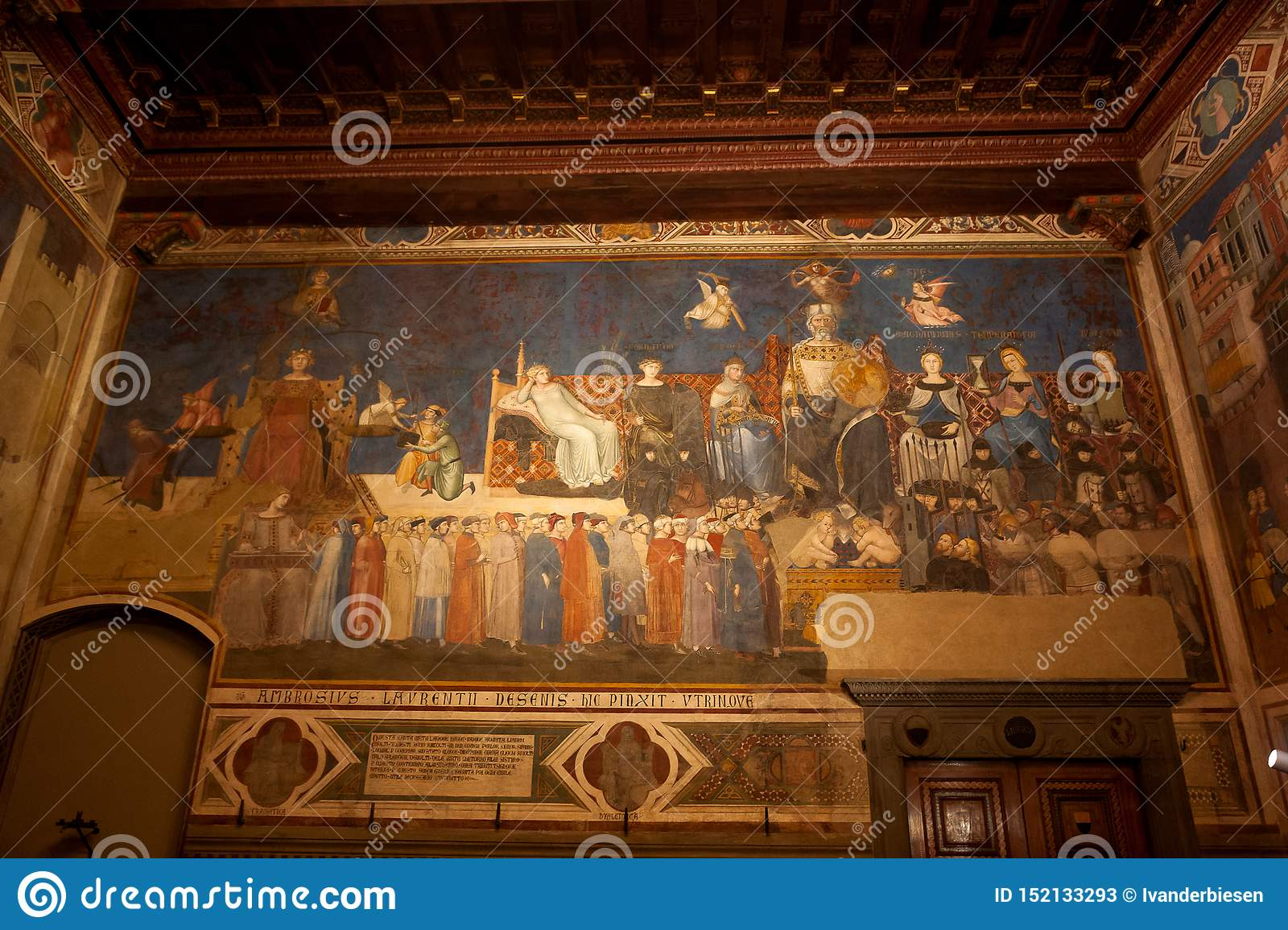 Sala Dei Nove Palazzo Pubblico Siena.Fresco Allegory Of The Good Government Lorenzetti Council