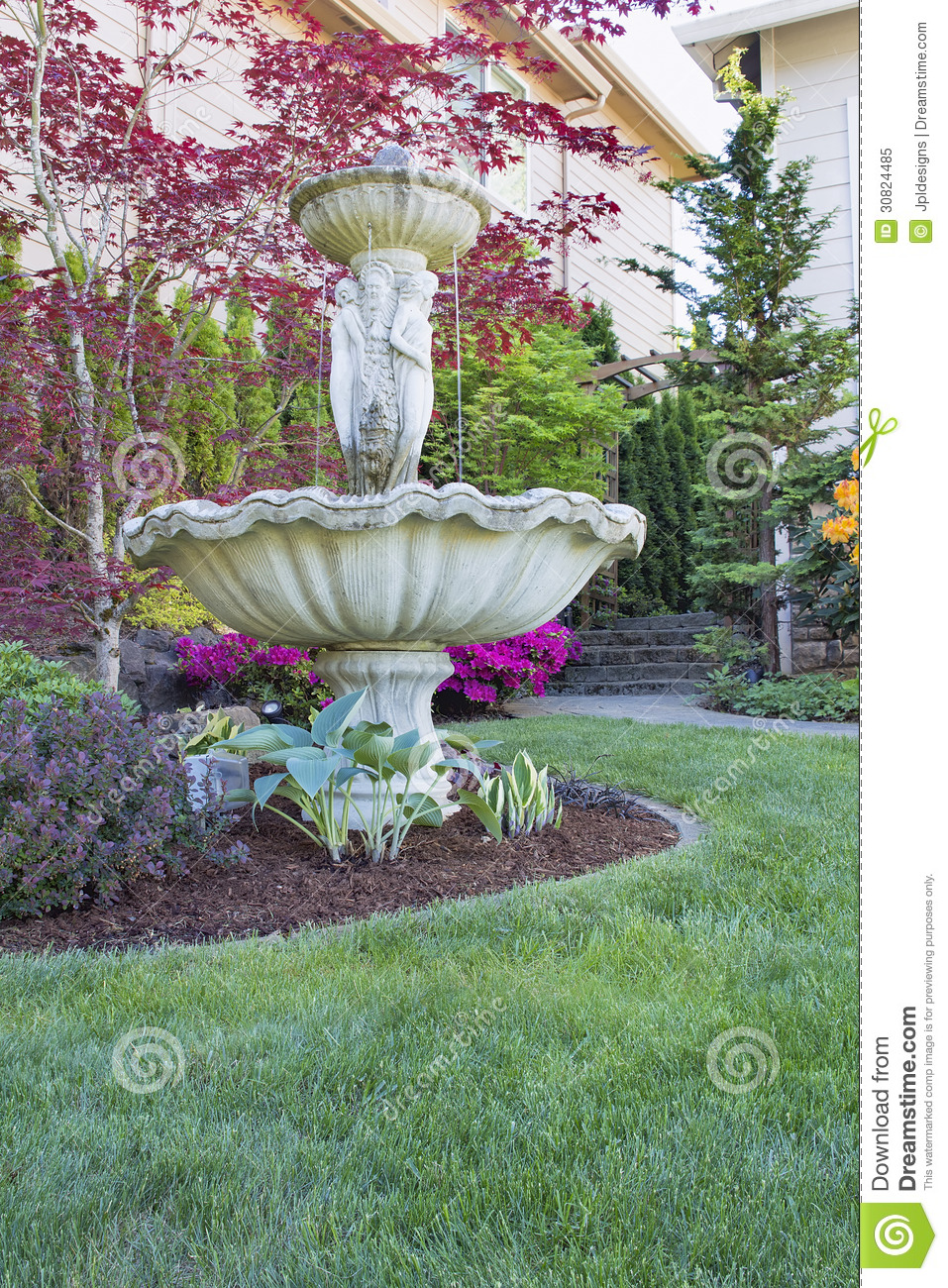 Renaissance Water Fountain In Front Lawn
