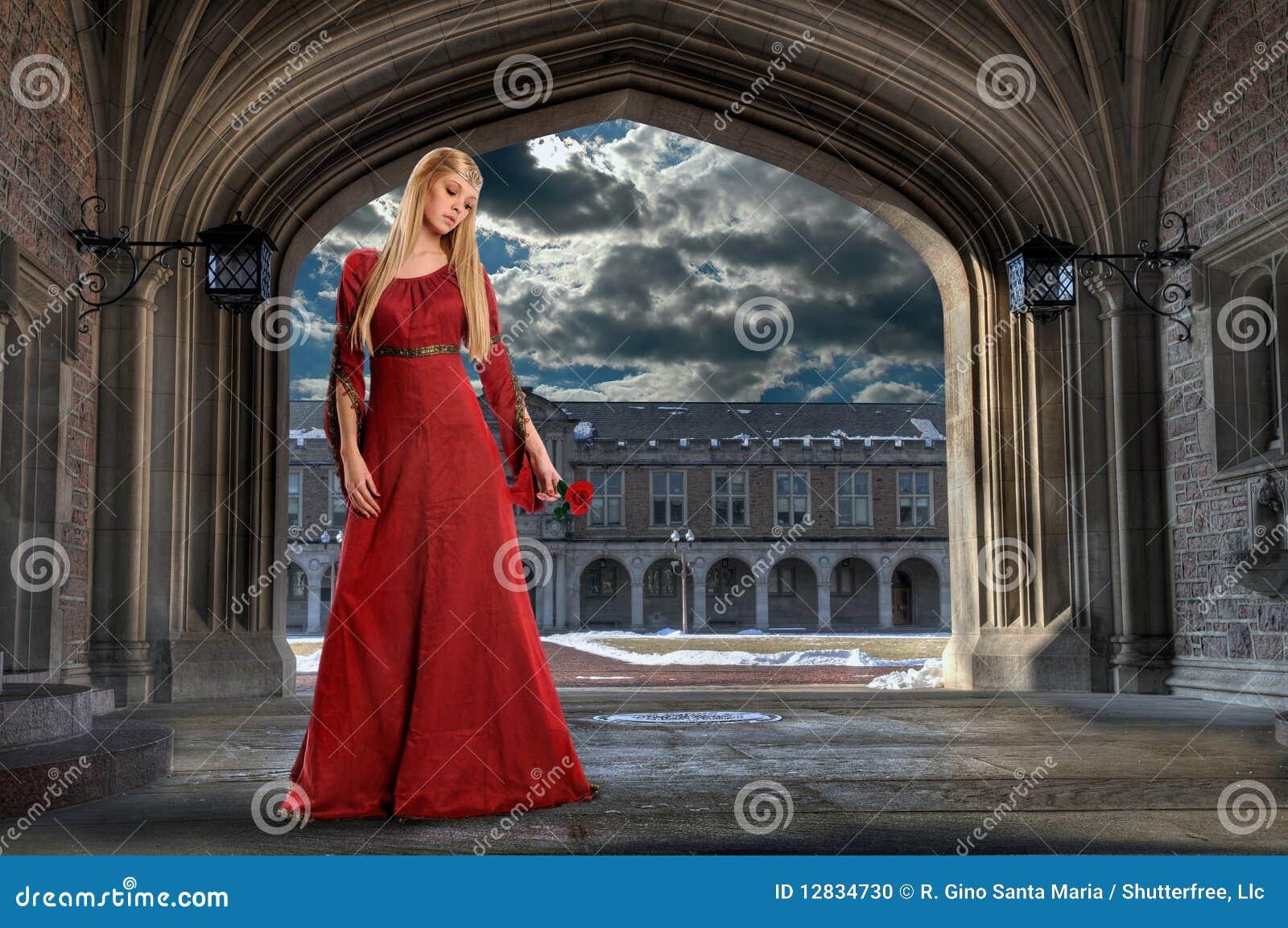 Renaissance Woman Holding Rose