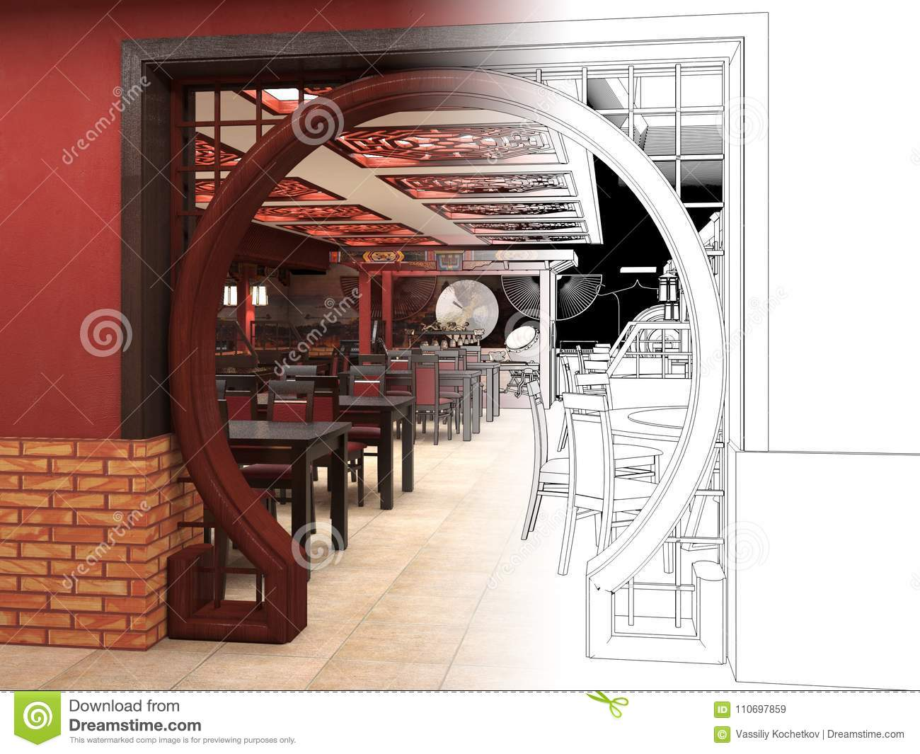 Render black and white sketch of the chinese restaurant - Chinese restaurant interior pictures ...