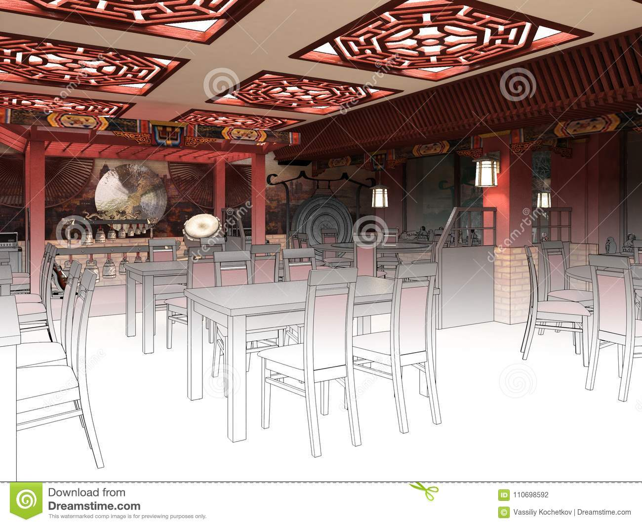 Render Black And White Sketch Of The Chinese Restaurant Interior Design Stock Illustration Illustration Of Plan Indoors 110698592