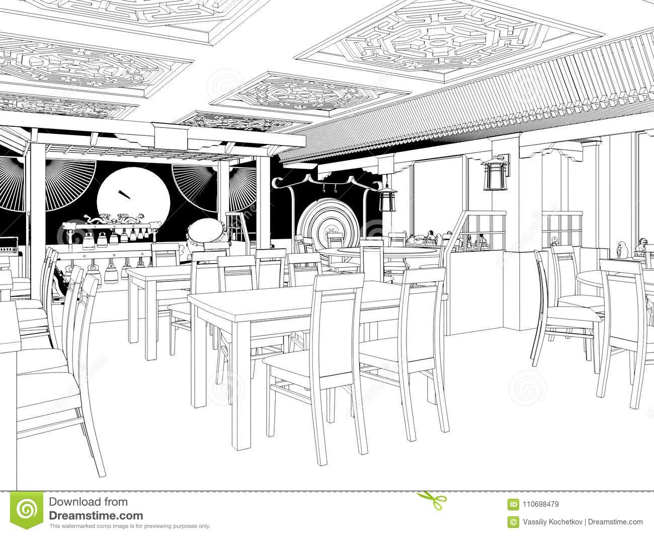 Render black and white sketch of the chinese restaurant interior design