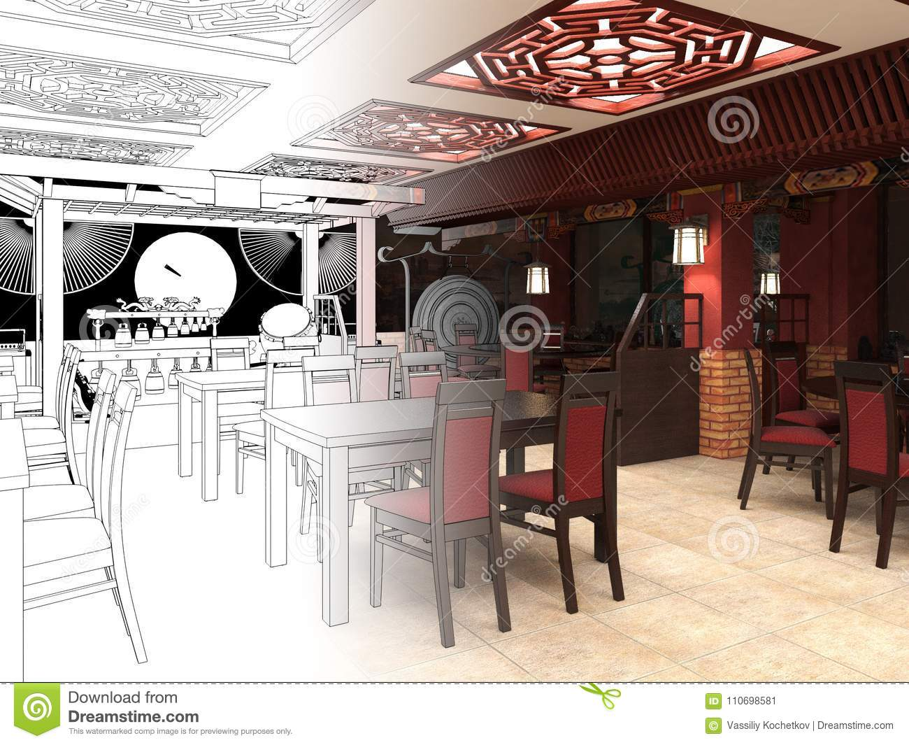 Render Black And White Sketch Of The Chinese Restaurant Interior Design Stock Illustration Illustration Of Architecture Design 110698581