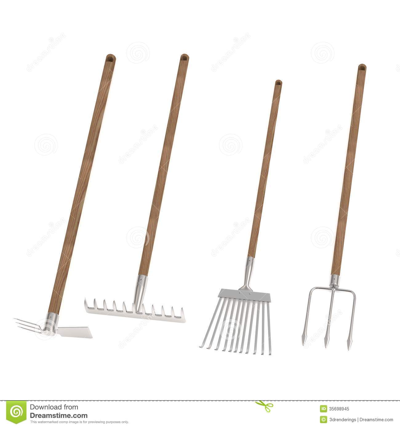 Render of 4 garden tools royalty free stock photo image for Garden design 3d tools