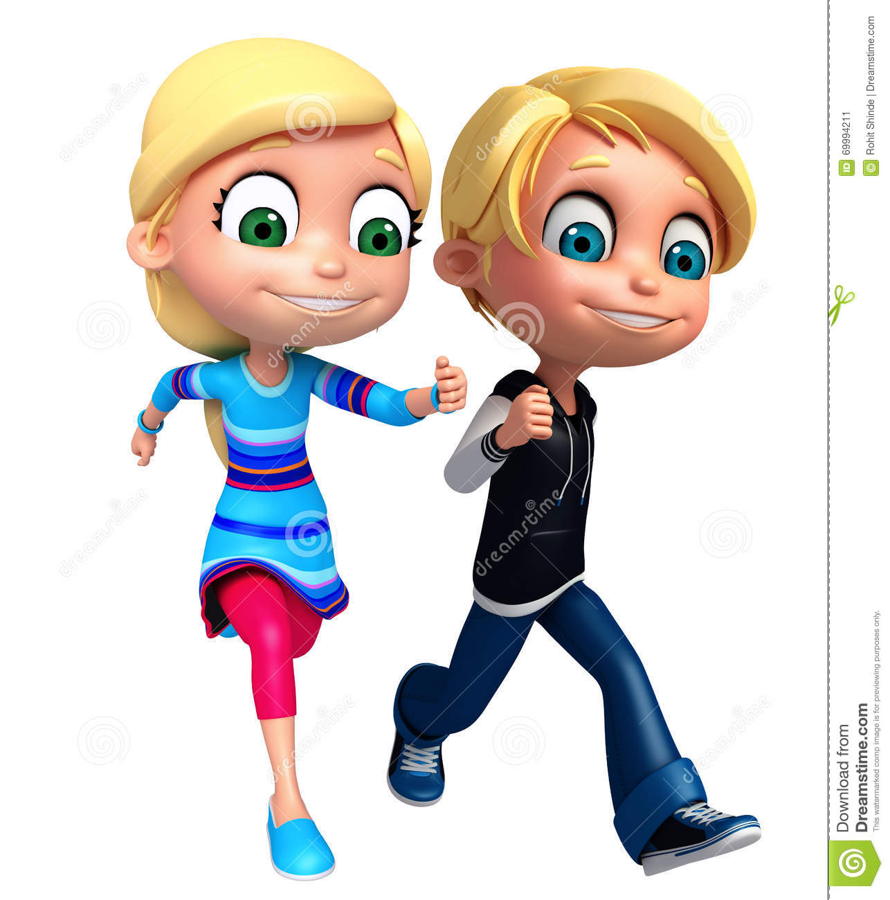 Render Of Little Boy And Girl With Running Pose Stock