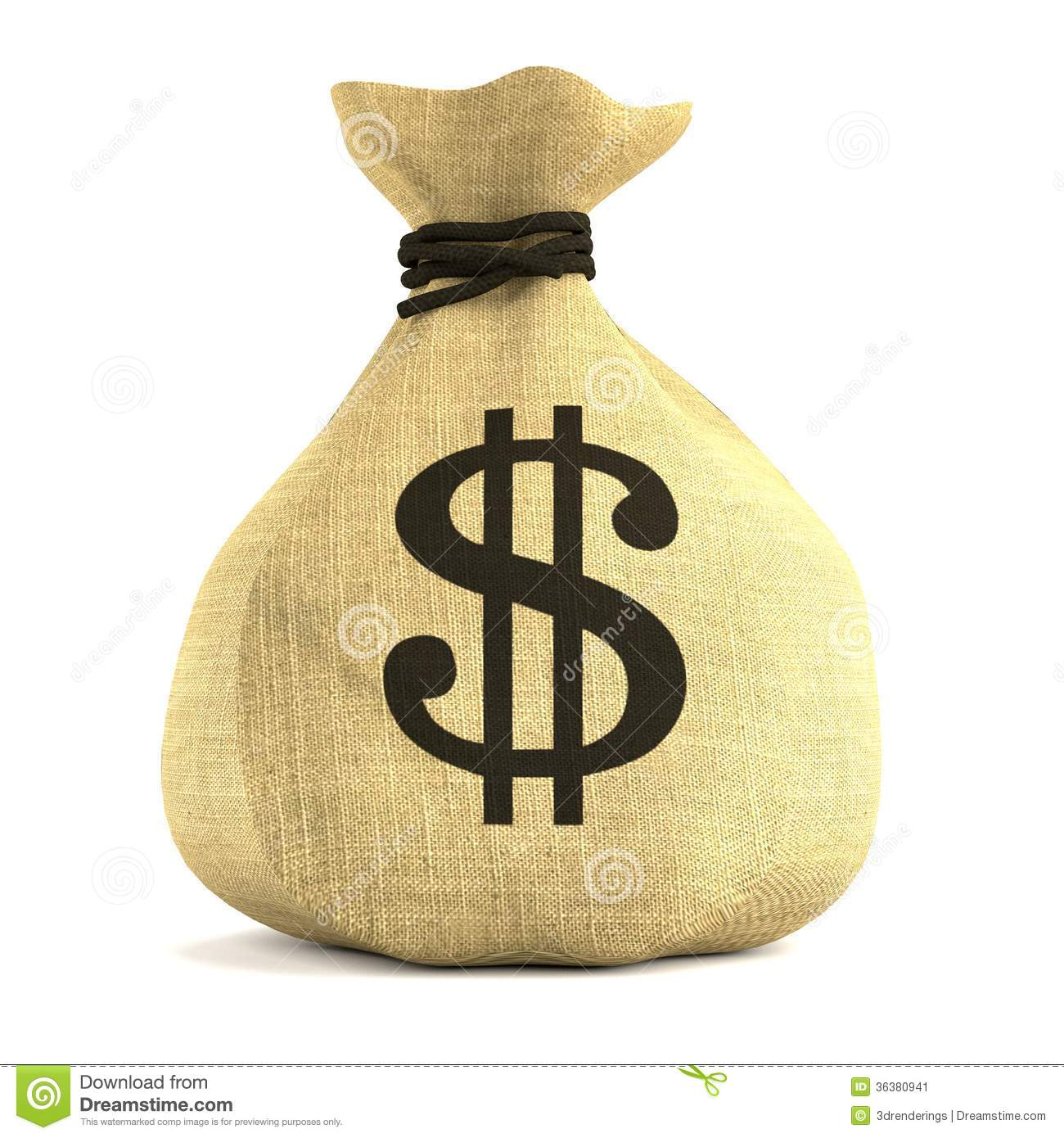 Render Of Money Bag Stock Image - Image: 36380941