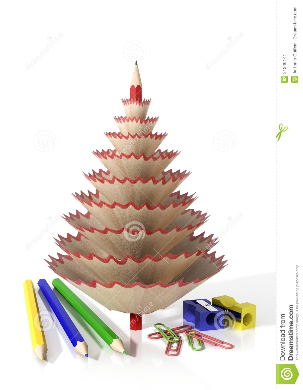 Render of office supplies and a tree made with pencil