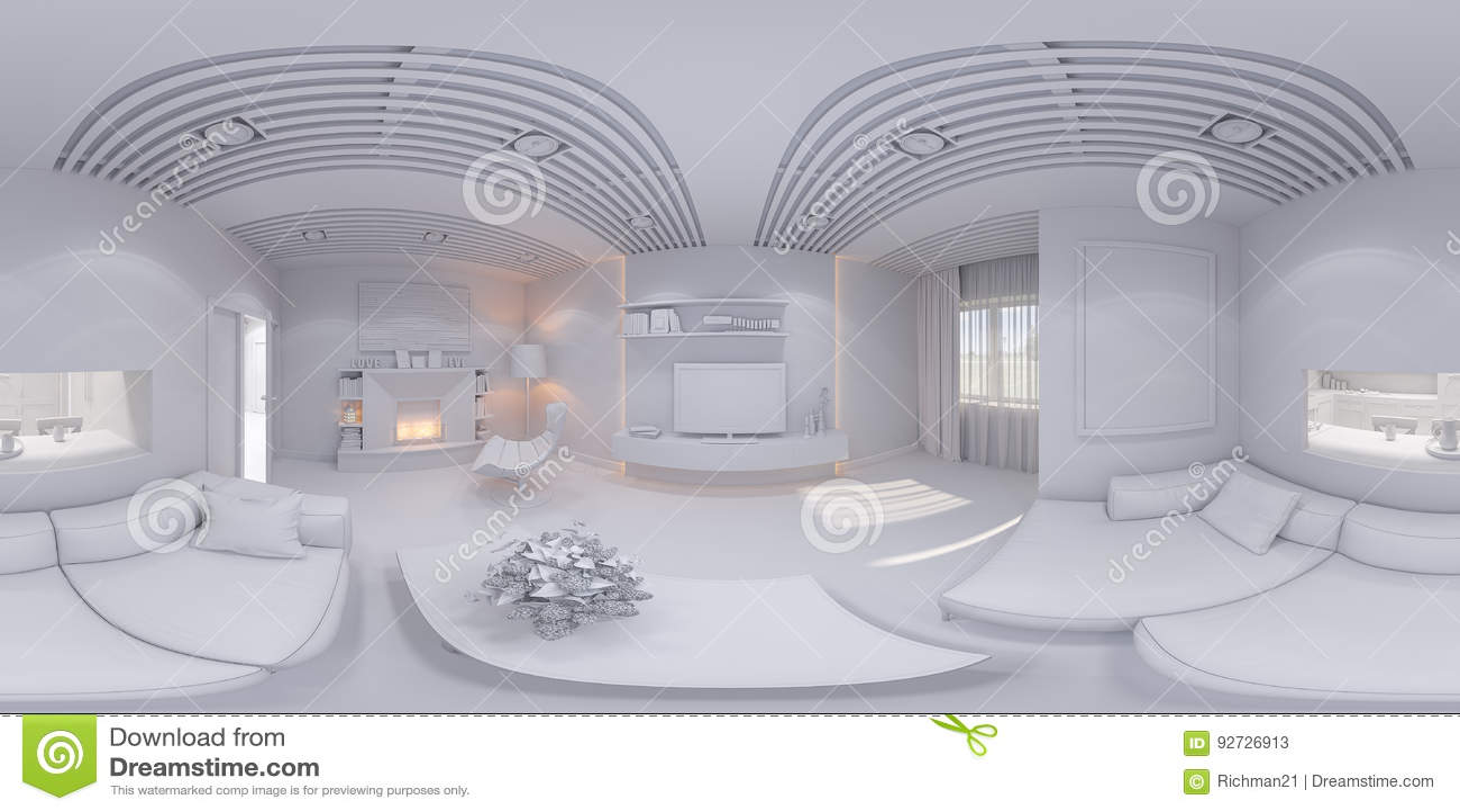 360 Render Panorama Interior Design Living Room