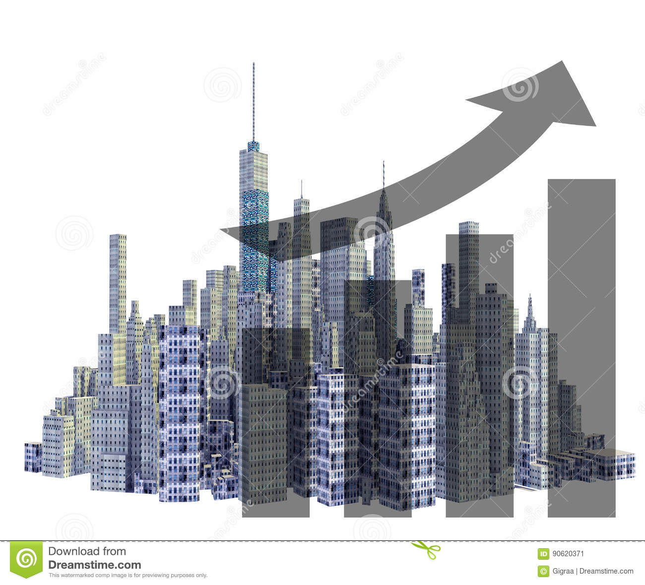 Rendered 3d city skyline with financial growth