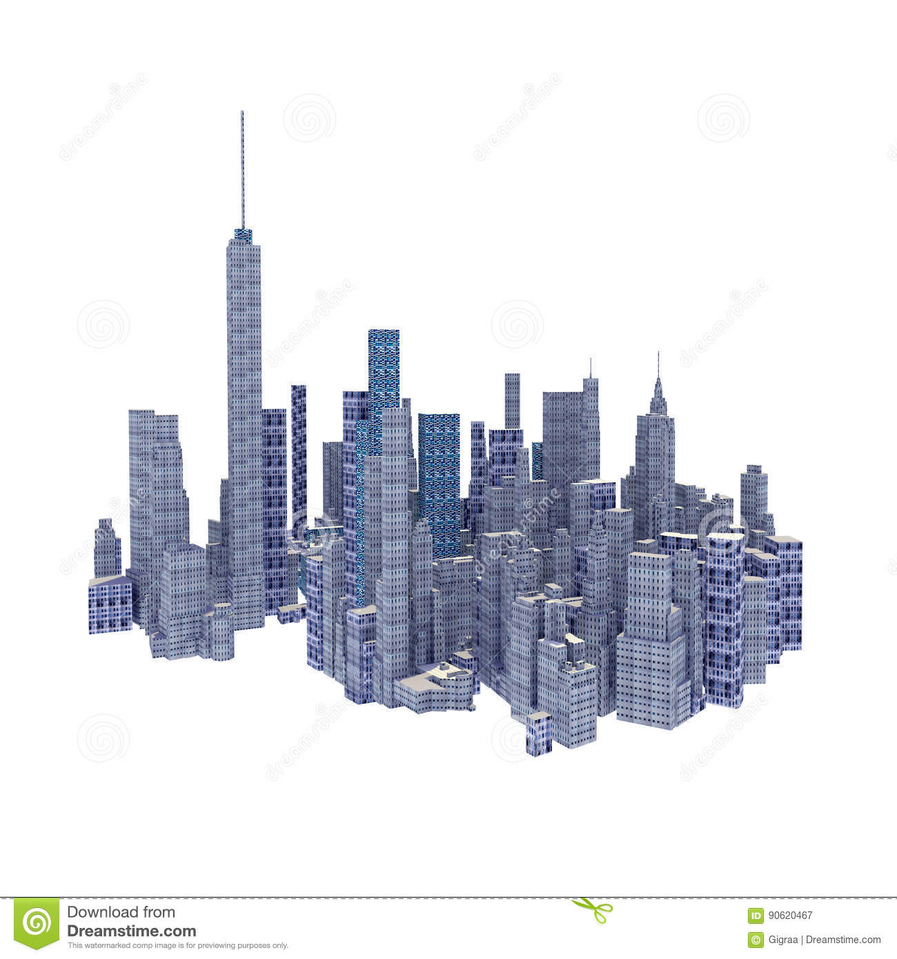 Rendered 3d city skyline isolated