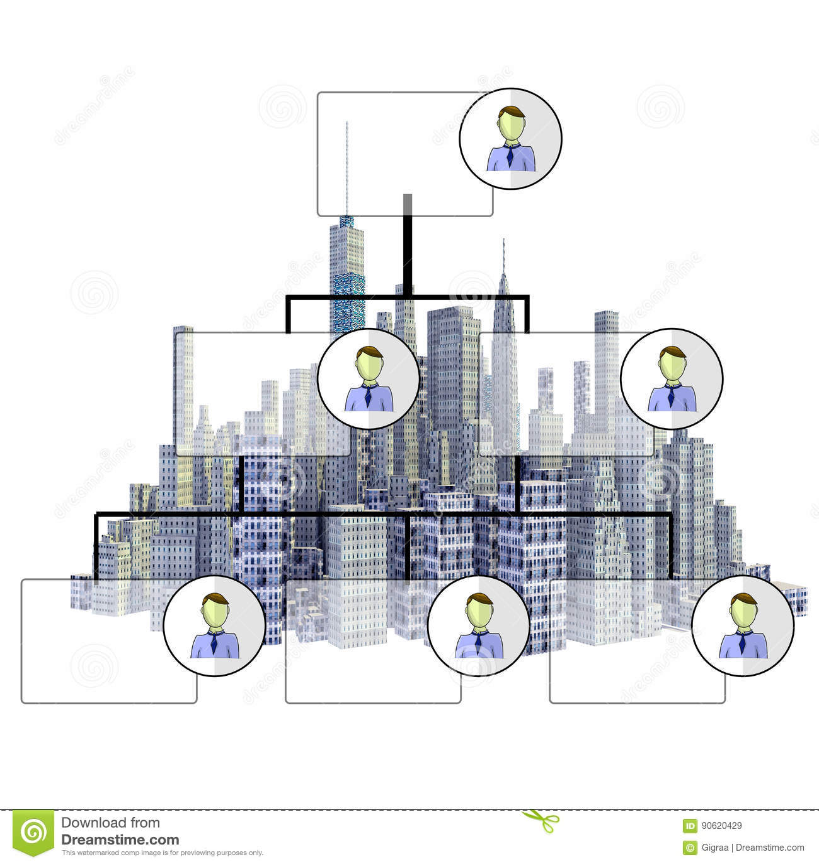 Rendered 3d city skyline with organigram