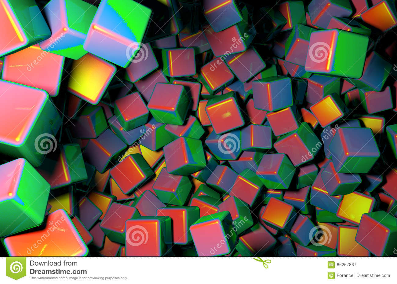 Rendered 3D Cubes Randomly Distributed in Space, Various Colors of Cubes