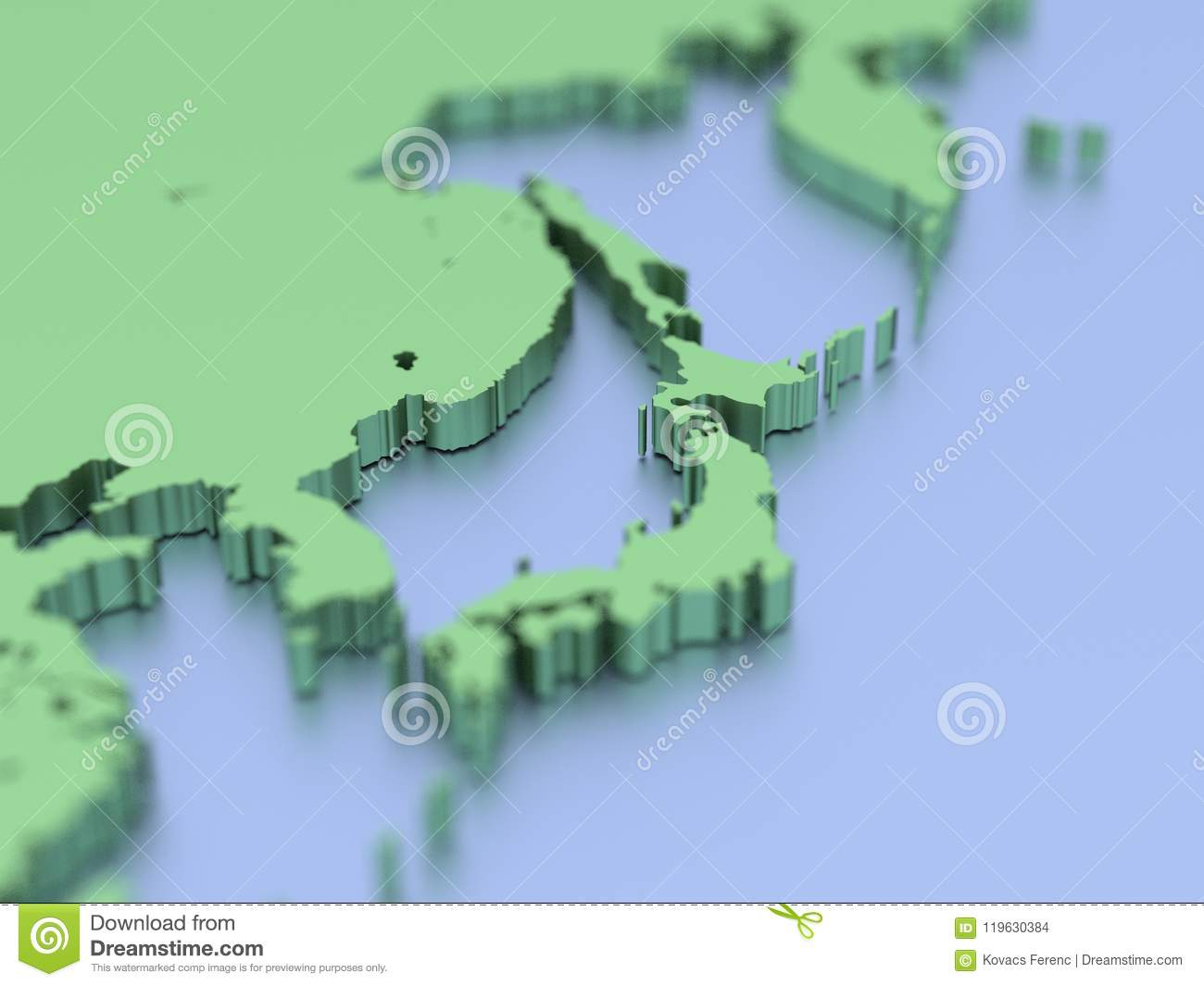 Picture of: 3d Map Of Japan Stock Illustration Illustration Of Continent 119630384