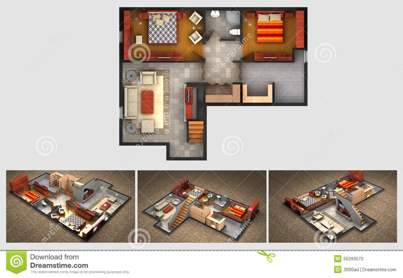 Rendered House Plan And Three Isometric Section Views. Model, Home.