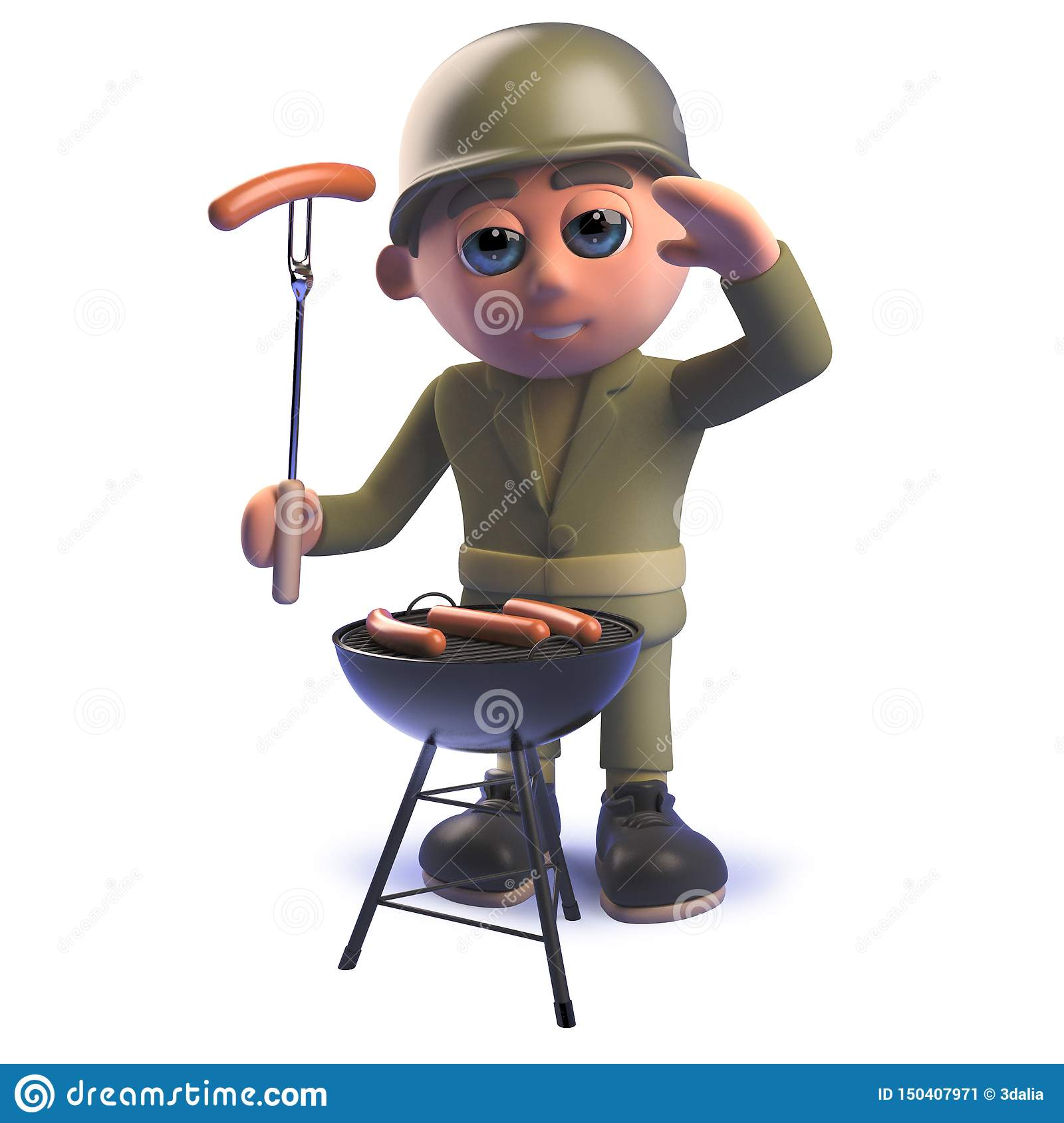 Cartoon 3d army soldier character cooking a barbecue bbq