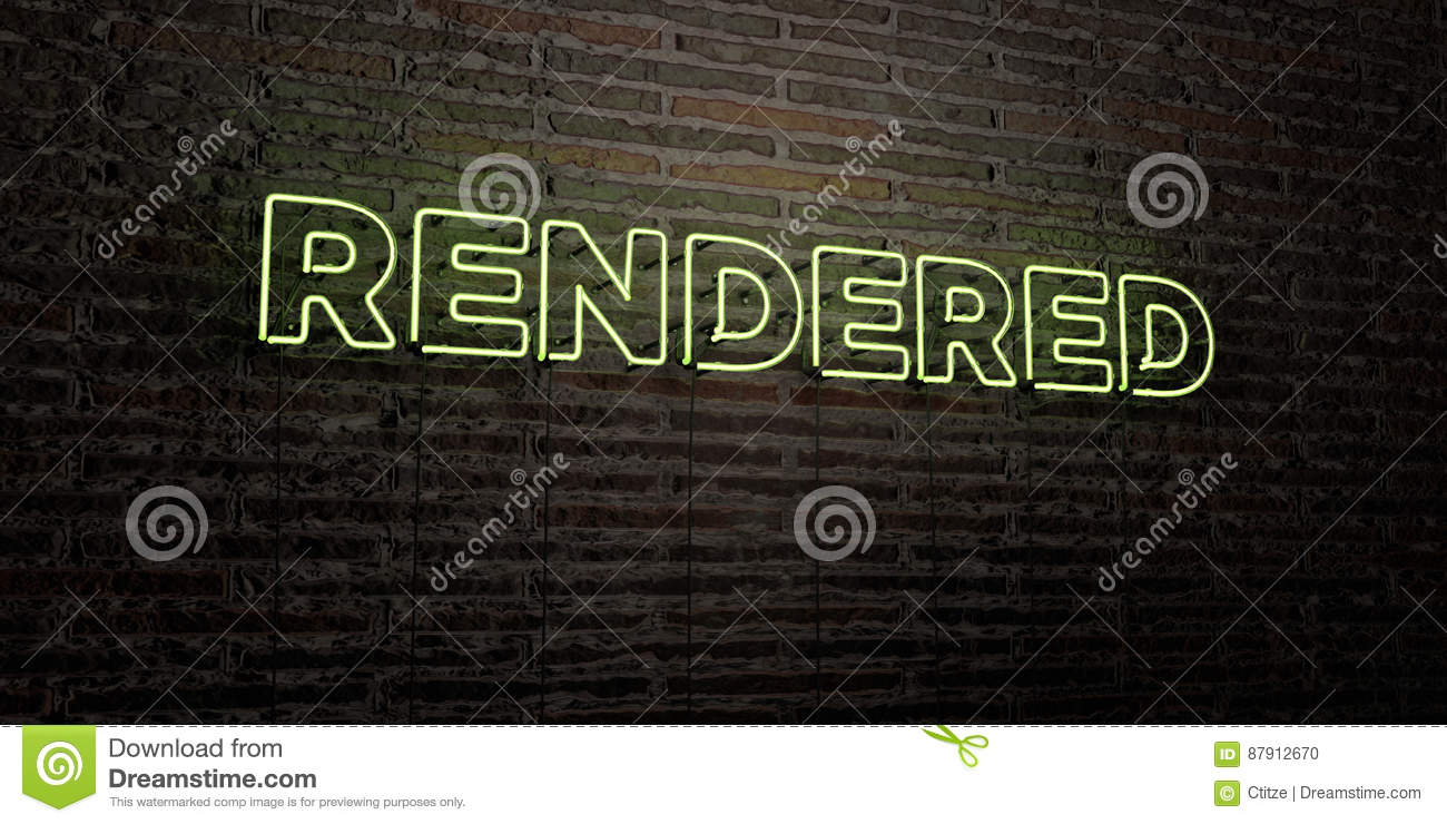 RENDERED -Realistic Neon Sign on Brick Wall background - 3D rendered royalty free stock image