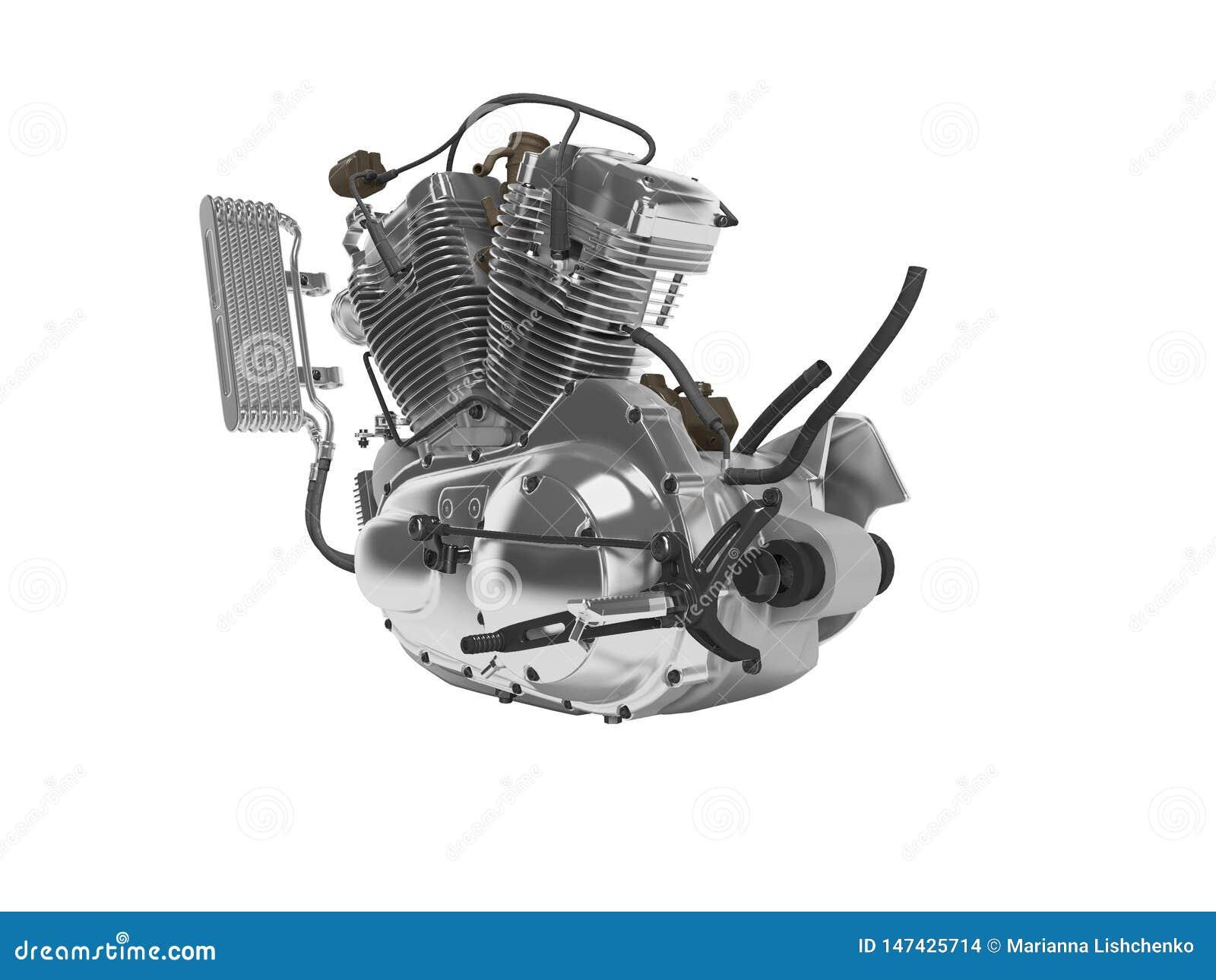 Renderer för ask för kugghjul för cylinder för motorcykel två för begreppsbensinmotor 3d på vit bakgrund ingen skugga