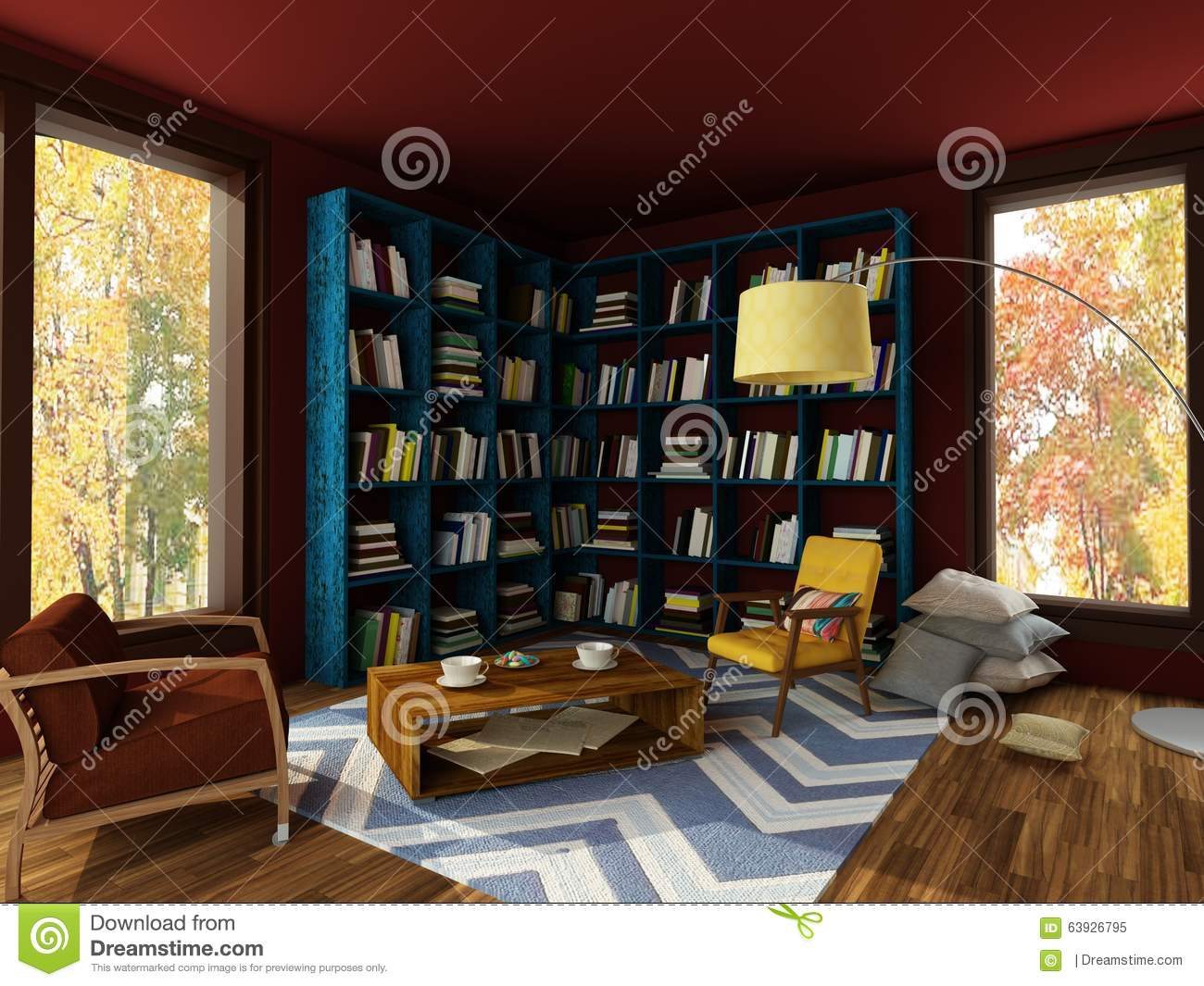 Cozy Room rendering of bright interior of cozy room in dark colors stock