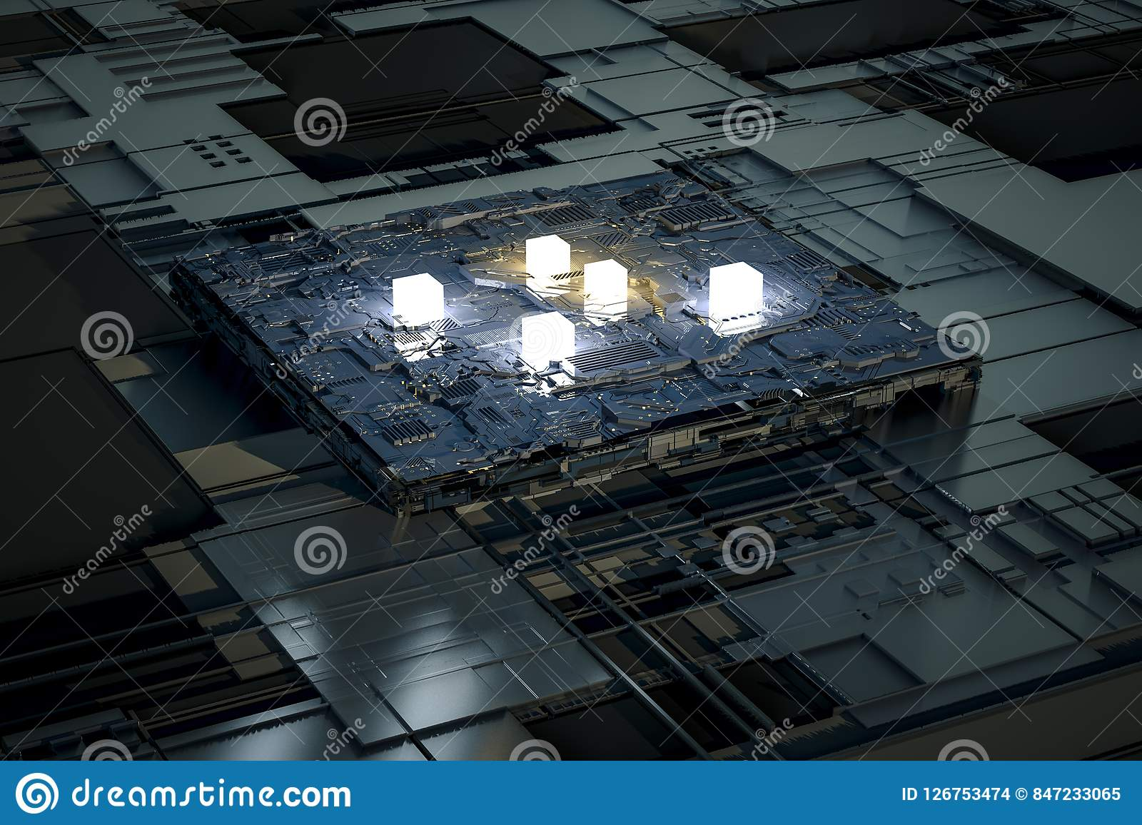 3d Rendering, Circuit Board And Gold Glow Chip Stock