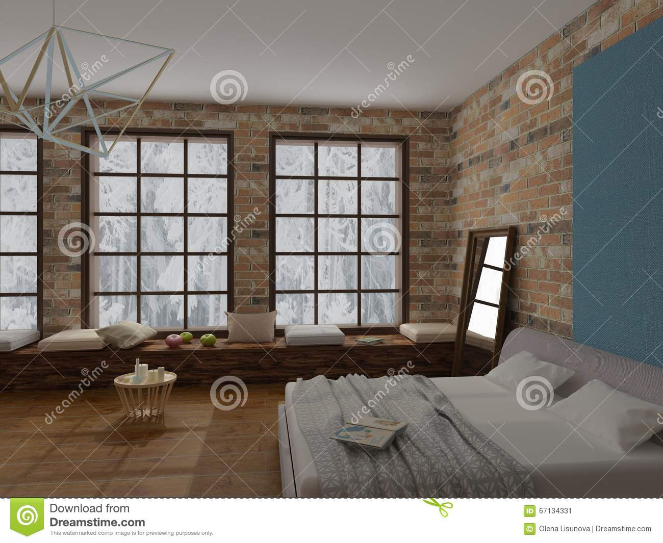 Cozy interior of loft bedroom with large gray soft bed brick walls large window with winter view shelves pillows mirror candles romantic mood & Rendering Of Cozy Interior Of Bedroom In Loft Style With Brick Wall ...