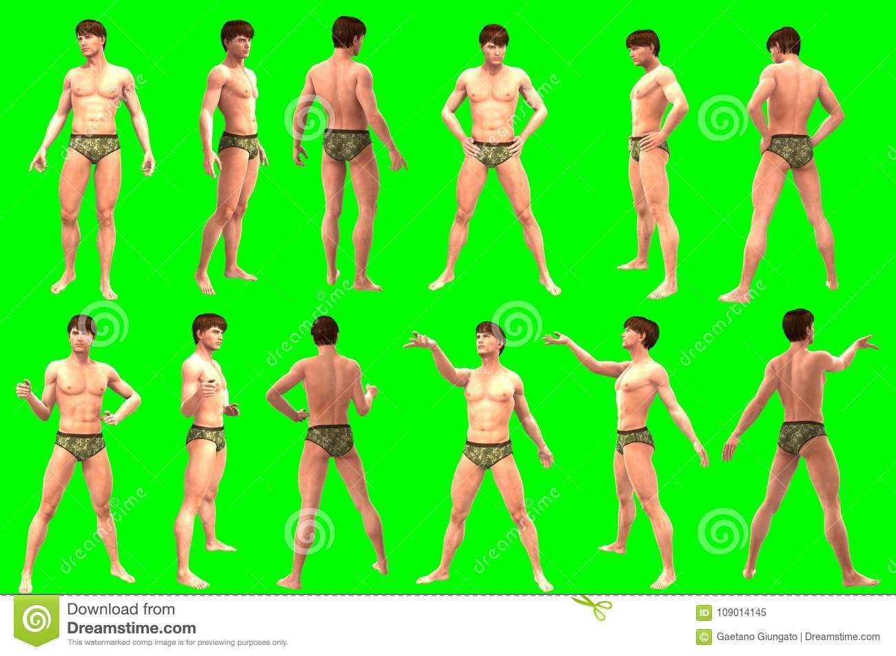 Collection of poses of young male figures