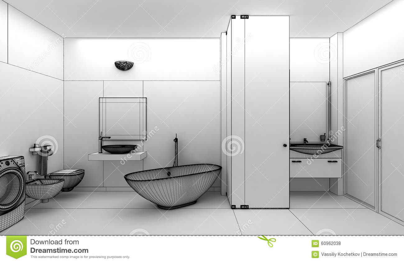 Rendering 3D Of A Modern Bathroom Interior Design Stock Illustration ...