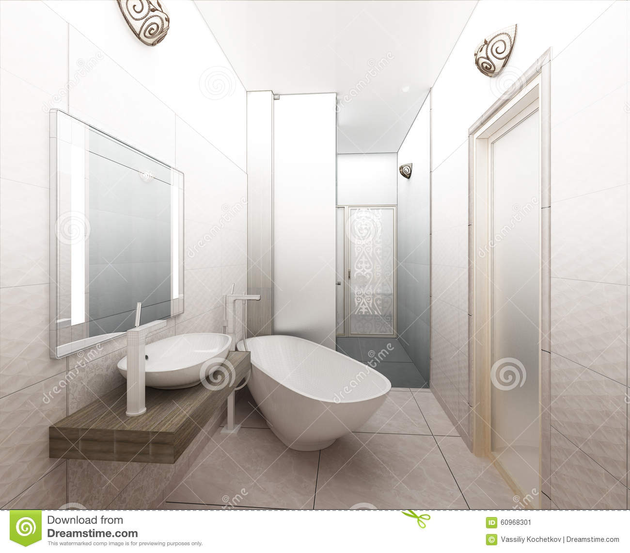 3d rendering contemporary wood toilet with light from for Bathroom design 3d