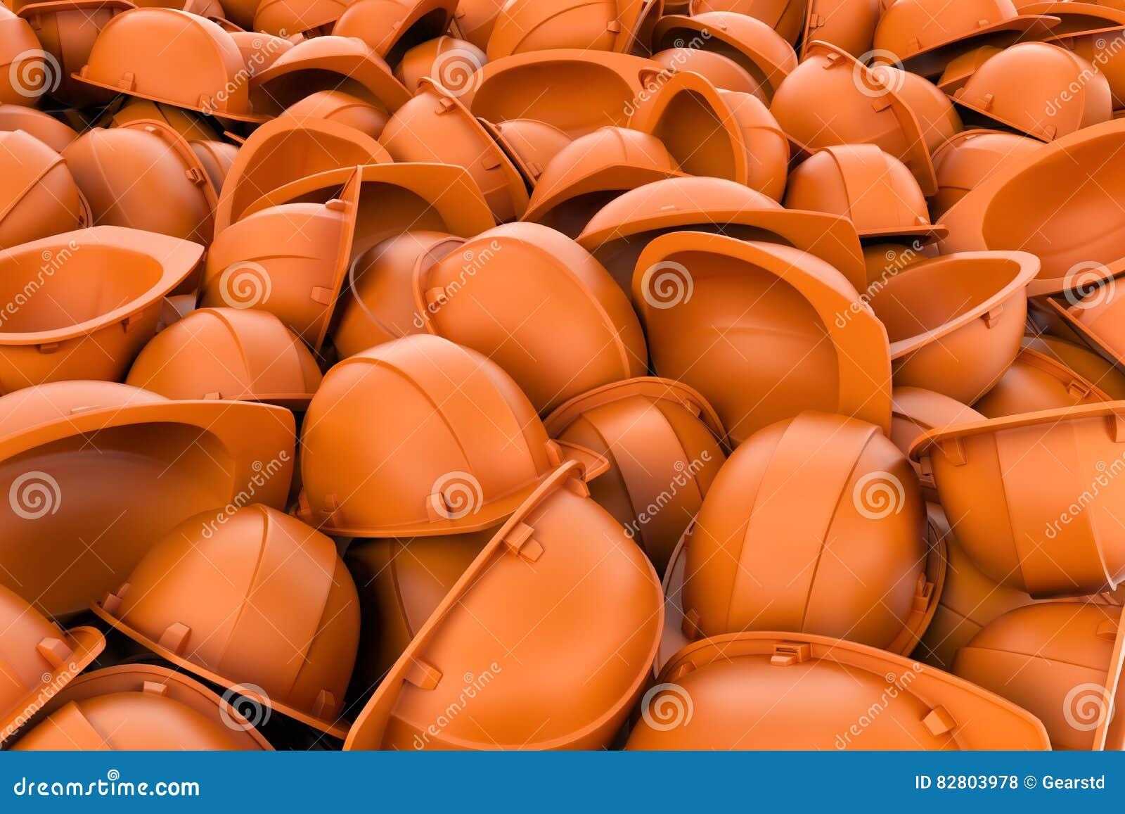 Rendering endless pile of orange plastic work helmet`s.