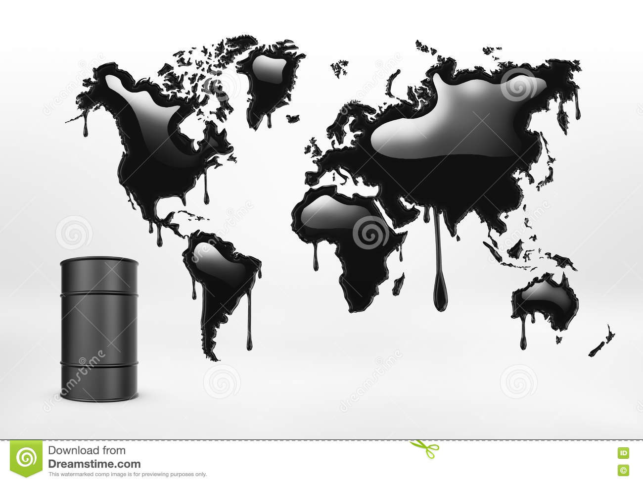 Rendering of geographical mapcolored in black and oil barrel on the white background