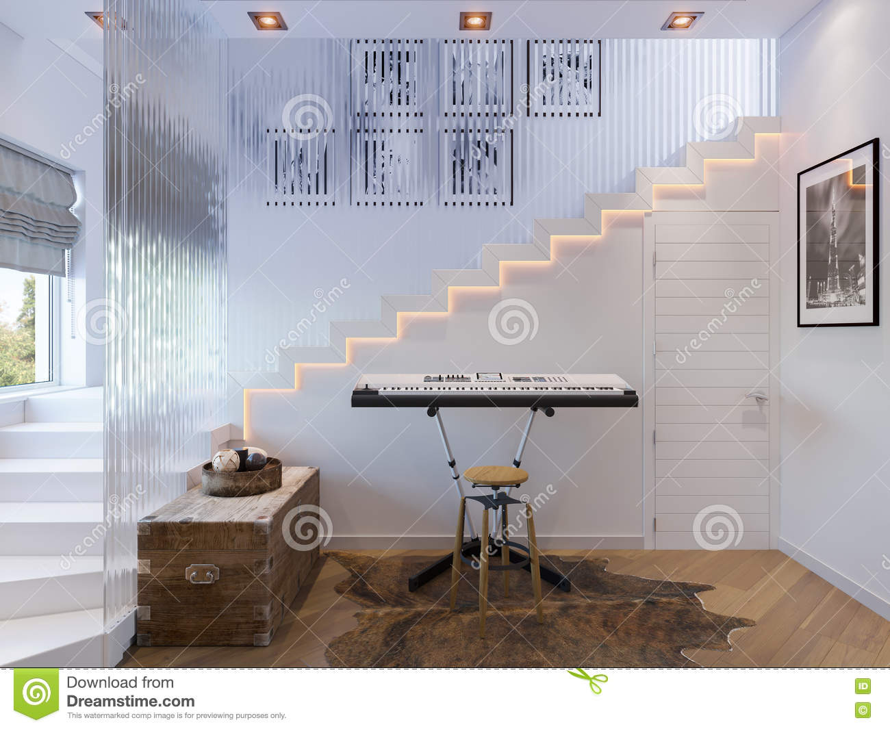 Rendering Of Interior Design Staircase Hall Stock Illustration