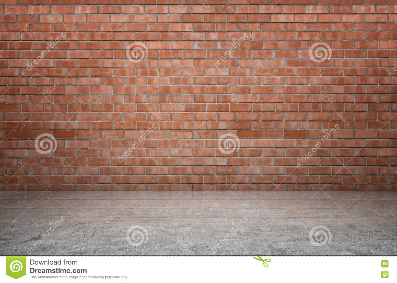 Interior Brick Flooring Pricing : Rendering of interior with red brick wall and concrete