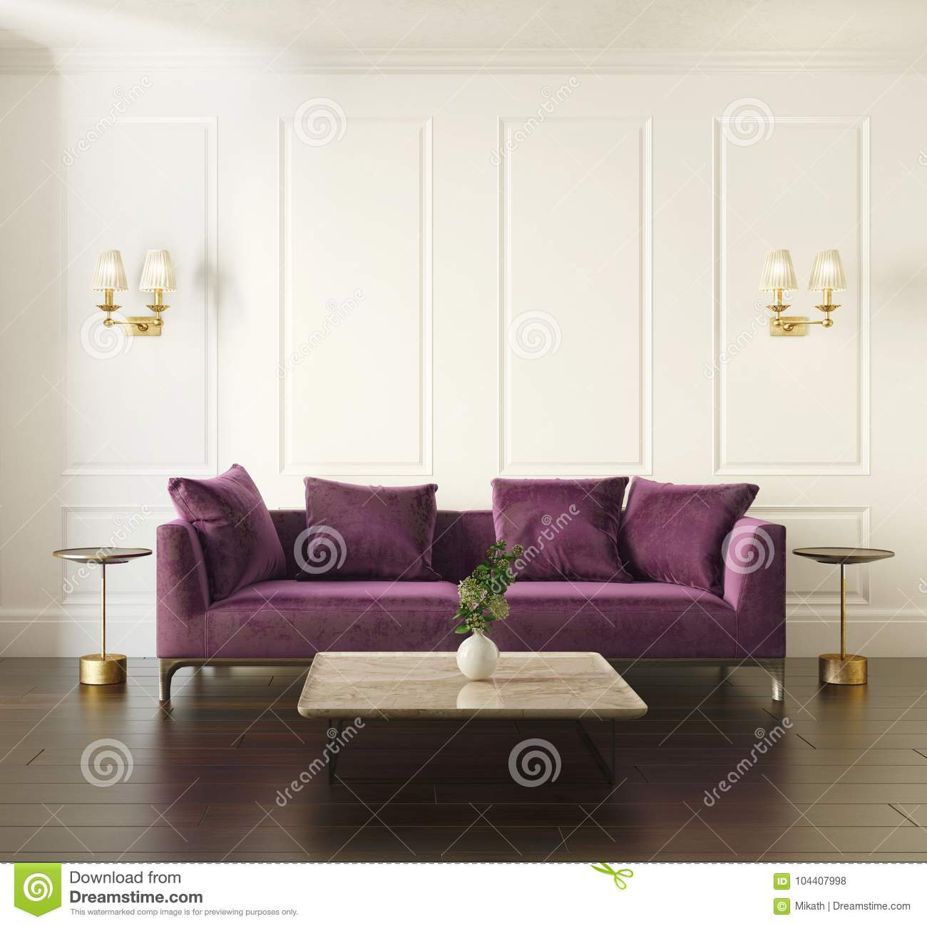 Modern Chic Classic Interior With Violet Velvet Sofa Stock ...