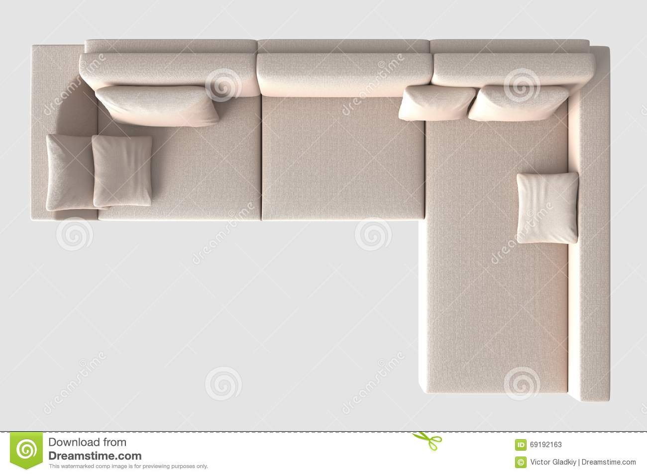Rendering Sofa Top View On White Stock Illustration