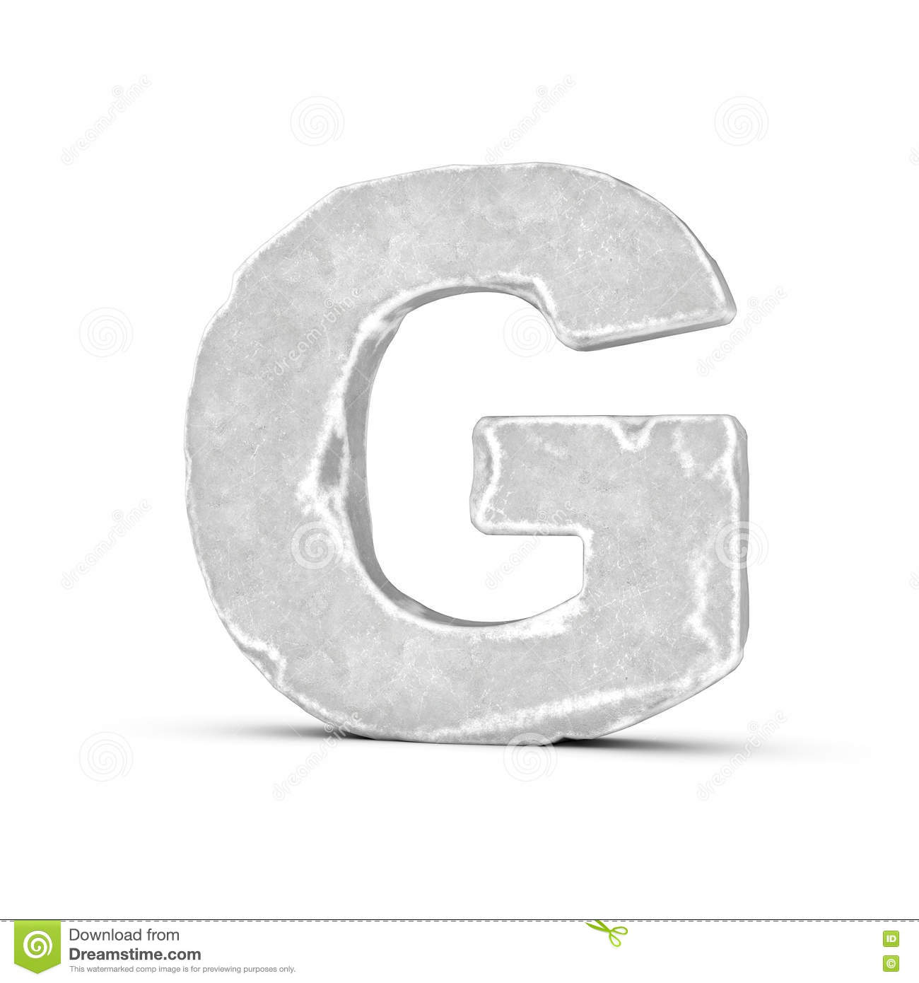 Rendering Of Stone Letter G Isolated On White Background Stock