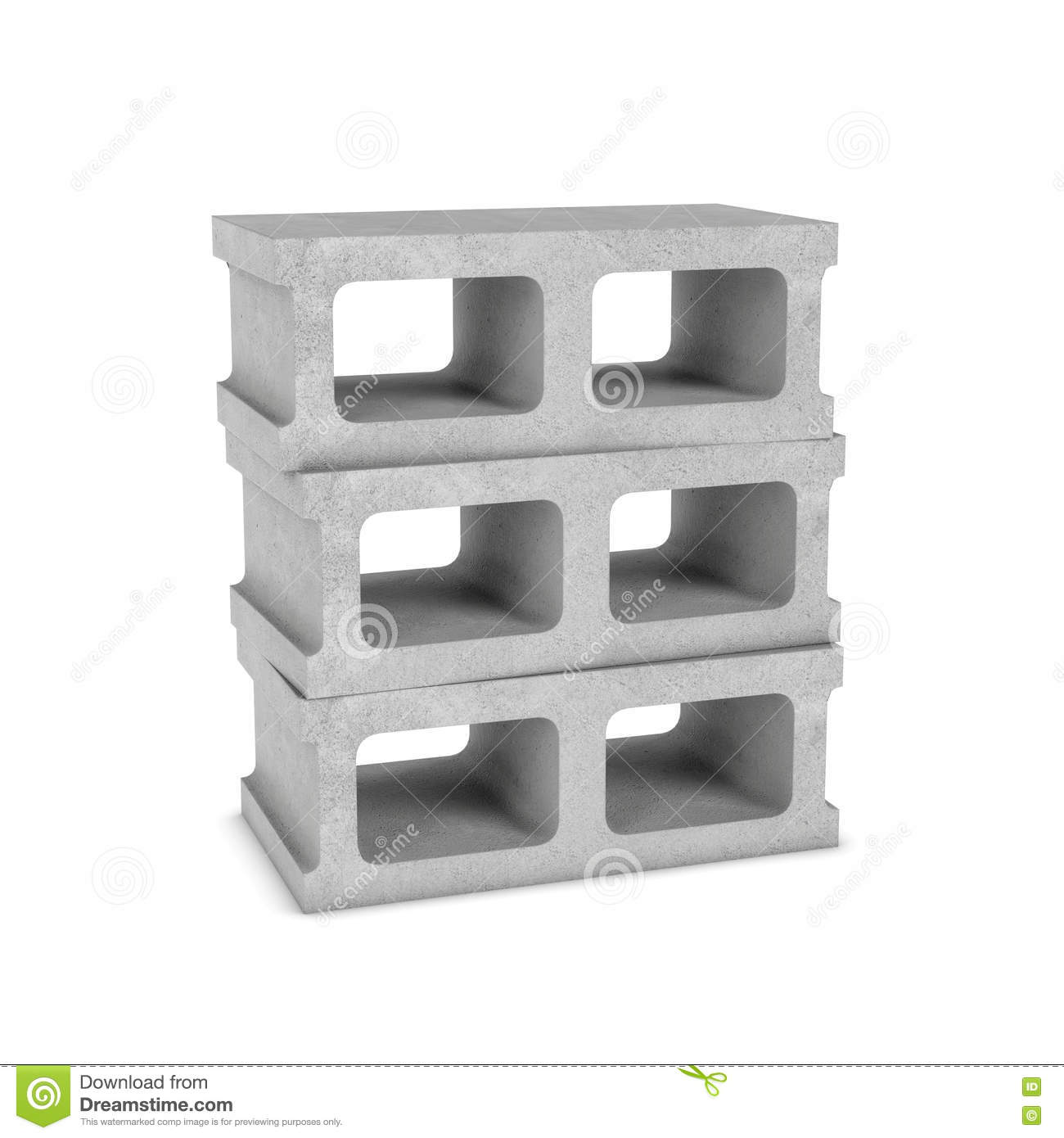 Rendering of three cinder blocks isolated on the white for Cinder block house construction