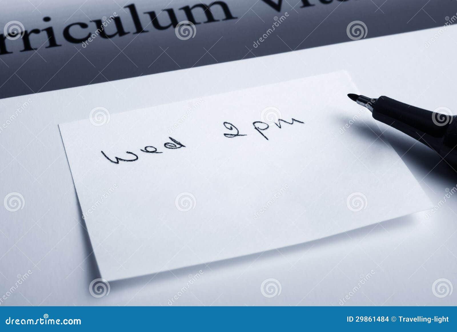 Rendez Vous Pour L Entrevue Photo Stock Image Du Note